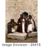 #20415 Historical Stock Photography Of A Group Of Bedouin Men In The Holy Land