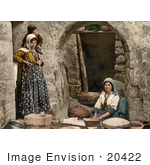 #20422 Historical Stock Photography Of A Female Peasant Making Bread In Syria