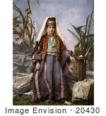#20430 Historical Stock Photography Of A Young Woman From Bethlehem Wearing Traditional Clothes