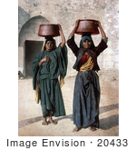 #20433 Historical Stock Photography Of Two Female Milk Sellers In Siloam