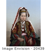 #20439 Historical Stock Photography of a Little Girl in Traditional Dress in Bethlehem by JVPD