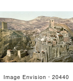 #20440 Historical Stock Photography of the Mar Saba Convent in the Kidron Valley, Judean Desert, Palestine by JVPD