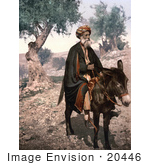 #20446 Historical Stock Photography Of Bethlehem Native Man On A Donkey Holy Land West Bank