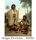 #20452 Historical Stock Photography Of Two Bedouin Shepherds Of Syria Holy Land Holding Rifles