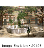 #20456 Historical Stock Photography of the Courtyard of a House in Damascus, Holy Land, Syria by JVPD