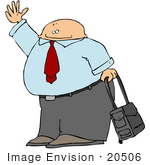 #20506 Clipart Of A Businessman Waving And Rolling Luggage In An Airport