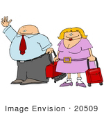 #20509 Clipart Of A Couple Waving And Carrying Luggage In An Airport While Traveling