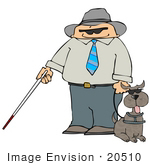 #20510 Clipart Of A Blind Man With A Cane Holding The Leash To His Assistance Dog