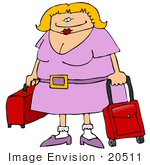 #20511 Clipart Of A Blond Woman With Red Rolling Luggage In An Airport