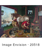 #20518 Historic Stock Photography Of A Donkey And A Dog Watching A Farrier Applying Horseshoes To A Horse