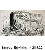 #20522 Historic Stock Photography Of A Train Carrying A Giant Boot And Loads Of Shoes