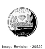 #20525 Stock Photography of Rice Stalks, Diamond and Mallard Duck on the Arkansas State Quarter by JVPD