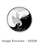 #20528 Stock Photography Of A Cowboy Riding A Bucking Bronco On The Wyoming State Quarter