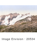 #20534 Historical Photochrome Stock Photography Of A Shed Near Mountains Deffreggerhutte Tyrol Austria