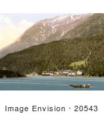 #20543 Historical Photochrome Stock Photography Of People Boating In Achensee Schwaz Scholastica Tyrol Austria