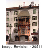 #20544 Historical Photochrome Stock Photography Of Innsbruck The Golden Porch Tyrol Austria
