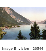 #20546 Historical Photochrome Stock Photography Of The Waterfront Village Of Achensee Pertisau Tyrol Austria