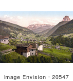 #20547 Historical Photochrome Stock Photography Of Grodenthal With Sella And Langkoflgruppe Tyrol Austria