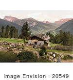 #20549 Historical Photochrome Stock Photography Of People At A House With A View Of Grodnenthal (Grodertal) Penidsattel Tyrol Austria
