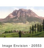 #20553 Historical Photochrome Stock Photography Of Lermoos With The Zugspitze Tyrol Austria