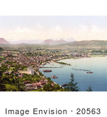 #20563 Historical Photochrome Stock Photography Of Bregenz Vorarlberg As Seen From Haggen Tyrol Austria