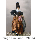 #20564 Historical Photochrome Stock Photography Of A Girl From Grodenthal Grodertal Tyrol Austria In Traditional Dress