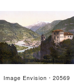 #20569 Historical Photochrome Stock Photography Of The Haselburg And View Of Bosen Tyrol Austria