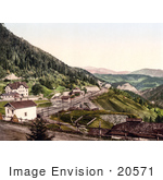 #20571 Historical Photochrome Stock Photography Of The Semmering Railway Semmering Station And Hotel Stephanie Styria Austria