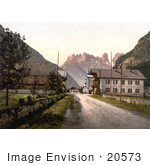 #20573 Historical Photochrome Stock Photography Of A Street And Hotel Bauer Landro Tyrol Austria