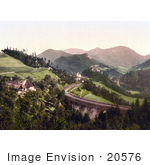 #20576 Historical Photochrome Stock Photography Of The Semmering Railway Der Jagergraben Styria Austria