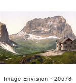 #20578 Historical Photochrome Stock Photography Of The Hospice And Langkoff Or Langkofl Grodnerjoch Tyrol Austria