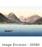 #20580 Historical Photochrome Stock Photography Of Two People In A Boat Achensee Tyrol Austria