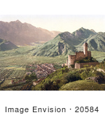 #20584 Historical Photochrome Stock Photography Of The Ruins Of The Telvana Castle And A View Of Borgo Valsugana