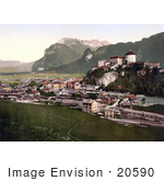 #20590 Historical Photochrome Stock Photography Of The Fortress In Kufstein Tyrol Austria