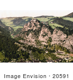 #20591 Historical Photochrome Stock Photography Of The Semmering Railway And Ruins Of Klamm Castle Styria Austria