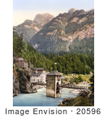 #20596 Historical Photochrome Stock Photography of the Altfinstermunz Medieval Toll Bridge, Finstermunz, Tyrol, Austria by JVPD