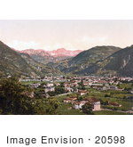 #20598 Historical Photochrome Stock Photography Of The City Of Bosen Near The Rosengarten Or Catinaccio Mountains In Tyrol Austria