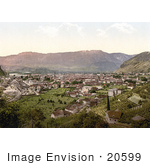 #20599 Historical Photochrome Stock Photography Of A Railroad And City In A Valley Bosen Mendel Tyrol Austria
