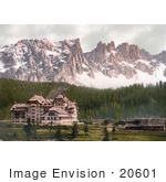 #20601 Historical Photochrome Stock Photography Of The Hotel And Lattemar Karersee Tyrol Austria