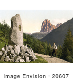 #20607 Historical Photochrome Stock Photography Of Male Hiker Viewing The Grohmann Monument Tyrol Austria