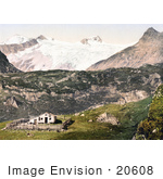 #20608 Historical Photochrome Stock Photography Of Johannishutte With Grossvenediger Tyrol Austria