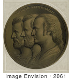 #2061 Ulysses S Grant Abraham Lincoln And George Washington In A Medallion
