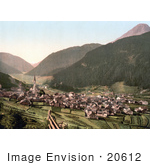 #20612 Historical Photochrome Stock Photography Of The Village Of Nauders Ortler Group Tyrol Austria