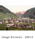 #20614 Historical Photochrome Stock Photography Of The Valley Village Of Predazzo Tirol Austria
