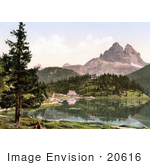 #20616 Historical Photochrome Stock Photography Of Misurinasee And Drei Zinnen Tyrol Austria