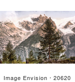 #20620 Historical Photochrome Stock Photography Of Ortler Territory With Berglihutte From Weissen Knott Tyrol Austria