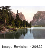 #20622 Historical Photochrome Stock Photography Of Toblach Lake Tyrol Austria