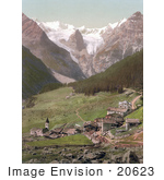 #20623 Historical Photochrome Stock Photography Of Trafoi And The Trafoi Ice Wall Tyrol Austria