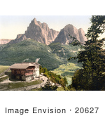 #20627 Historical Photochrome Stock Photography Of A Peasant House Near Mt Surlon Tyrol Austria