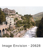 #20628 Historical Photochrome Stock Photography Of Meran Gilf-Anlagen And Zenoburg Tirol Austria